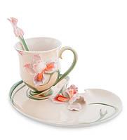 """Чашка с блюдцем """"Ирис"""" 200 мл., 2 пр., фарфор Pavone, Италия"""