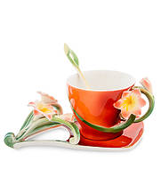 "Чашка с блюдцем ""Кливия"" 150 мл., 2 пр., фарфор Pavone, Италия"