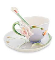 """Чашка с блюдцем """"Орхидея"""" 160 мл., 2 пр., фарфор Pavone, Италия"""