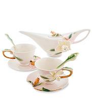 """Чайный сервиз """"Гардения"""" на 2 персоны 90/250 мл., фарфор Pavone, Италия"""