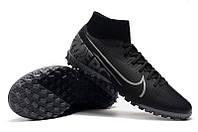 Футбольные сороконожки Nike Mercurial Superfly VII Academy TF Black/Metallic Cool Grey, фото 1
