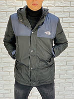 Мужская осенняя куртка плащевка на синтепоне черная с синим 46 48 50 52
