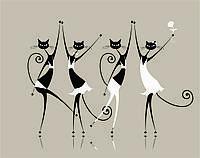 """Модульная картина """"4 танцующих кота"""""""