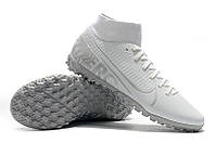 Футбольные сороконожки Nike Mercurial Superfly VII Academy TF White/Chrome/Metallic Silver, фото 1