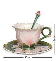 Чайная пара ''Герань'' 8х15 см., фарфор Pavone, Италия