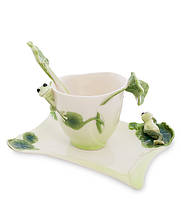 "Чашка с блюдцем ""Лягушки"" 150 мл., 2 пр., фарфор Pavone, Италия"