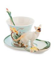 "Чашка с блюдцем ""Сиамский кот"" 150 мл., 2 пр., фарфор Pavone, Италия"