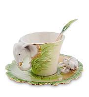 """Чайный набор """"Слоны"""" 150 мл., 2 пр., фарфор Pavone, Италия"""
