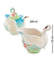 """Набор сахарница и молочник """"Лебеди"""" 200/300 мл., фарфор Pavone, Италия"""