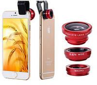 Универсальный набор объективов/линз для мобильных телефонов, смартфонов 3 в 1