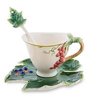 """Чайный набор """"Гроздь винограда"""" 120 мл., 2 пр., фарфор Pavone, Италия"""