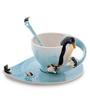 """Чашка с блюдцем """"Пингвины"""" 150 мл., 2 пр., фарфор Pavone, Италия"""