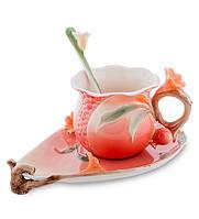 """Чашка с блюдцем """"Цветущий гранат"""" 170 мл., 2 пр., фарфор Pavone, Италия"""