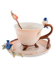 """Чашка с блюдцем """"Голубые птицы"""" 150 мл., 2 пр., фарфор Pavone, Италия"""