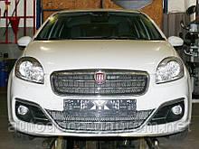 Декоративно-защитная сетка радиатора Fiat Linea фальшрадиаторная решетка, бампер