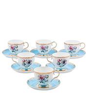 """Чайный сервиз на 6 перс. """"Цветок Неаполя"""" 200 мл., фарфор Pavone, Италия"""