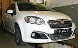 Декоративно-защитная сетка радиатора Fiat Linea фальшрадиаторная решетка, бампер, фото 4