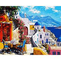 Картина раскраска по номерам на холсте 40*50см Babylon VP1032 Санторини Уютное кафе