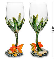 """Бокал для вина """"Золотая рыбка"""" 12x6x18 см., Гонконг"""