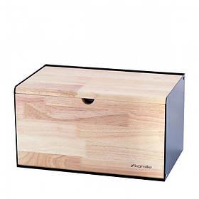 Хлебница Kamille 35 х 21 х 19 см бамбука и нержавеющей стали Черная KM-1117