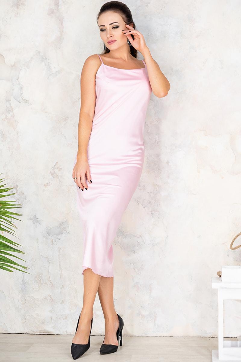 Розовое воздушное женское платье Роксолана