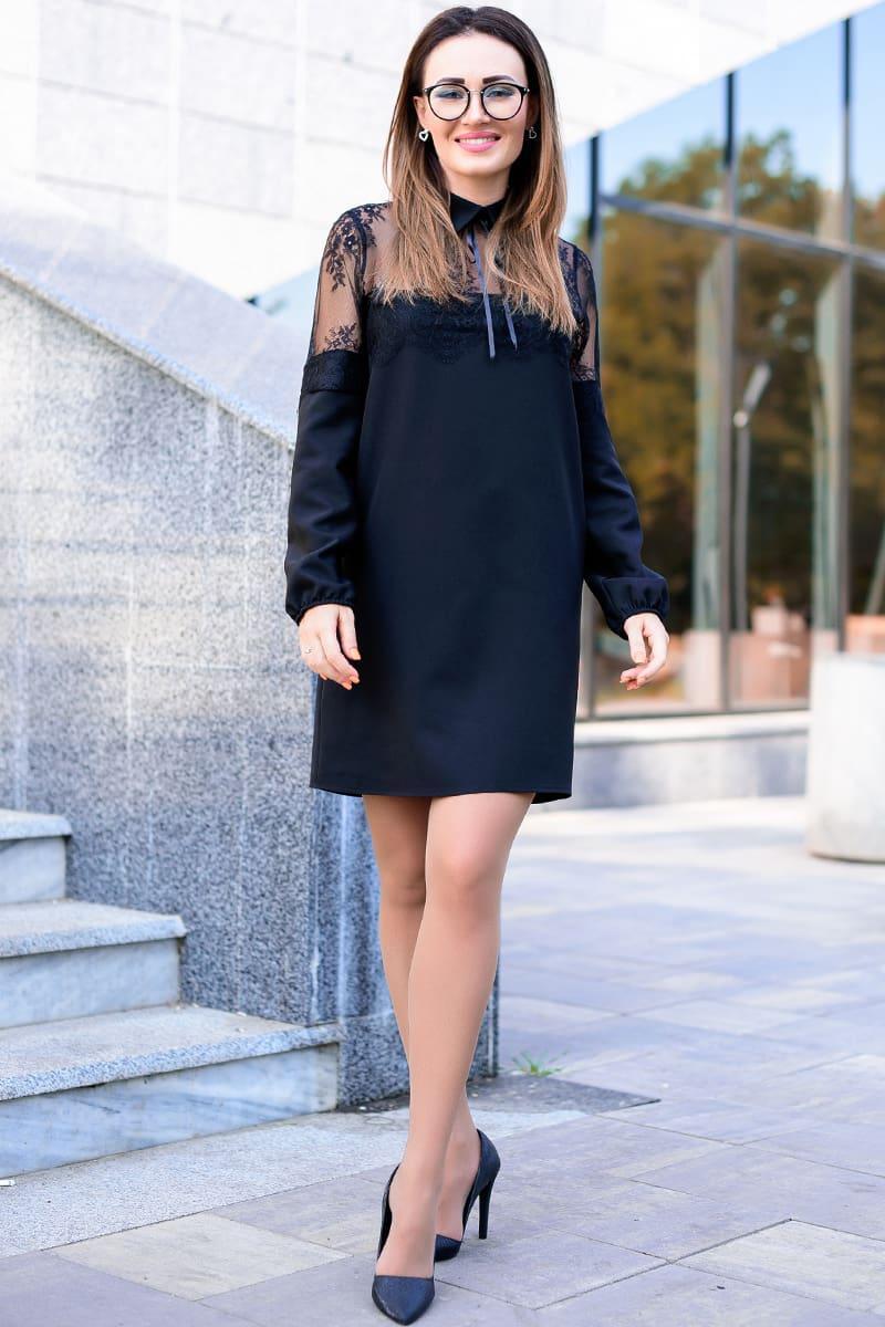 Черное однотонное платье с кружевом Бланш