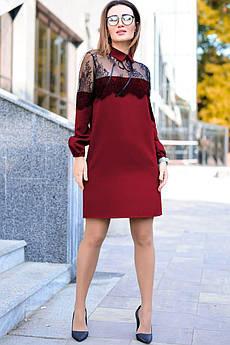 Бордовое однотонное платье с кружевом Бланш