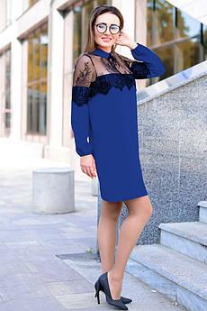 Синее однотонное платье с кружевом Бланш