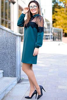 Изумрудное однотонное платье с кружевом Бланш
