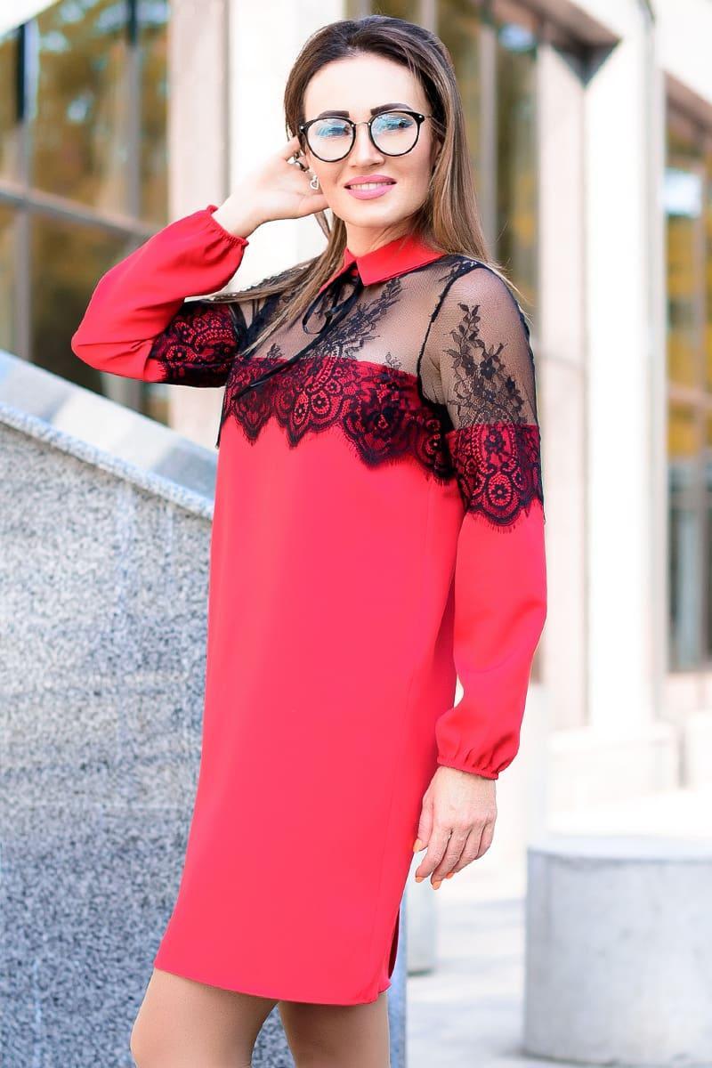 Красное однотонное платье с кружевом Бланш