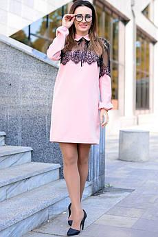 Рожеве однотонне плаття з мереживом Бланш