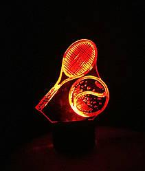 3d-світильник Тенісна ракетка і м'яч, 3д-нічник, кілька підсвічувань (на пульті)