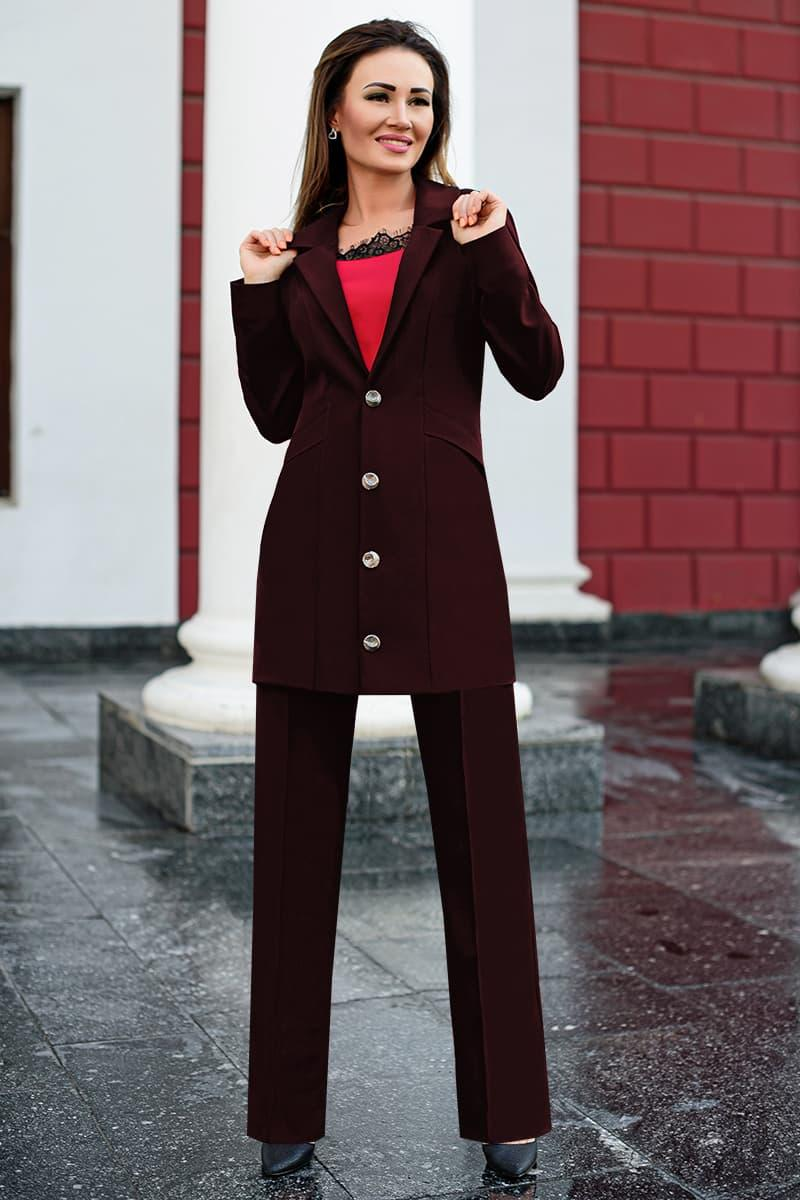 Бордовый однотонный брючный костюм Николас