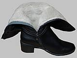 Сапоги женские зимние кожаные на низком каблуке от производителя модель МВ1101, фото 3