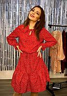 Платье женское красное в горошек белый