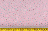 """Лоскут ткани """"Одиночные микро цветки"""" на розовом № 2100а, размер 49*80 см, фото 2"""