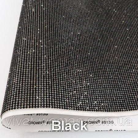 Стразовая ткань самоклеющаяся. Цвет Jet Black. Размер страз SS6 (1.9-2.0 мм). Цена за отрез 1х24 см
