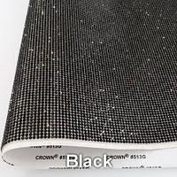 Стразовая ткань самоклеющаяся. Цвет Jet Black. Размер страз SS6 (1.9-2.0 мм). Цена за отрез 1х24 см, фото 1