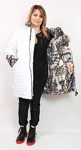 Турецкая удлиненная двухсторонняя женская куртка больших размеров 56-64