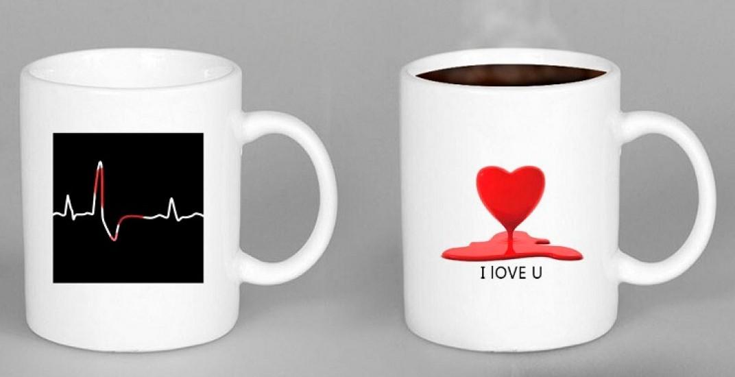 Чашка хамелеон HEARTBEAT Биение сердца, Чашка хамелеон HEARTBEAT Биття серця, Чашки хамелеон