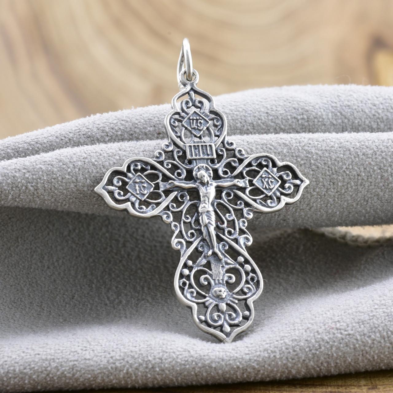 Серебряный крест с чернением  Православный Спаси и Сохрани размер 45х29 мм вес 2.89 г