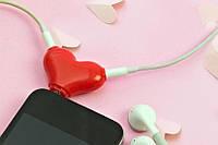 Разветвитель для наушников Сердце, Розгалужувач для навушників Серце, Аксессуары к телефонам и планшетам