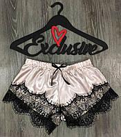 Женские шорты атласные с кружевом.