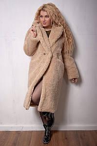 Женская эко шуба teddy bear больших размеров 46-56 бежевая