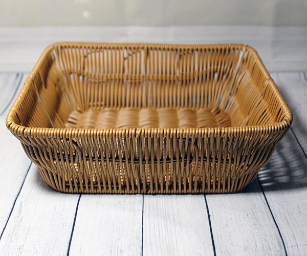 Прямоугольная светлая корзинка для хранения хлеба HLS 27*20*7 см (7323)