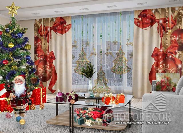 Новогодние 3D Фото Комплекты (шторы + тюль)