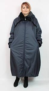 Турецкая женская длинная куртка с мехом, большие размеры 60-70