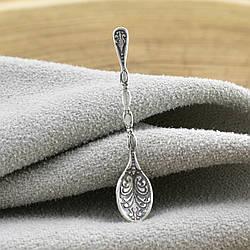 Серебряный сувенир Ложка загребушка размер 30х6 мм вес 0.45 г