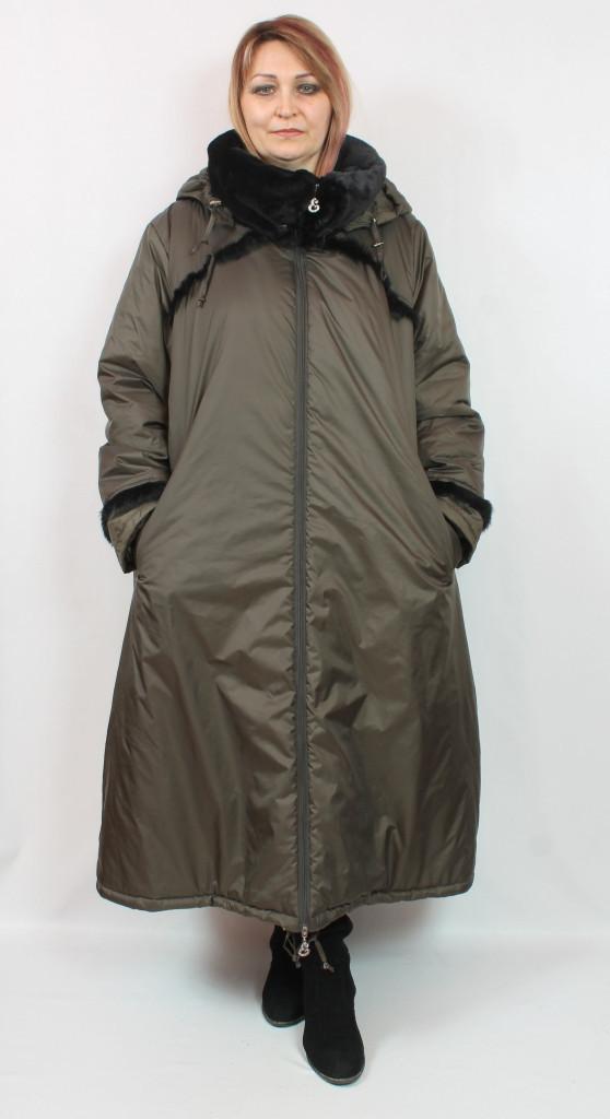 Турецкая теплая длинная куртка с мехом, большие размеры 60-70