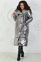 Женская куртка-пальто зимняя больших размеров (силикон 300), фото 1